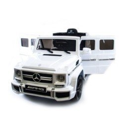 Электромобиль Mercedes-Benz G63 AMG белый (колеса резина, кресло кожа, пульт, музыка)