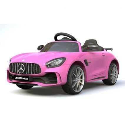Электромобиль Mercedes-Benz GTR AMG HL288 розовый (колеса резина, кресло кожа, пульт, музыка)